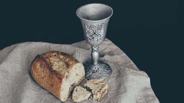 communion cup and broken bread