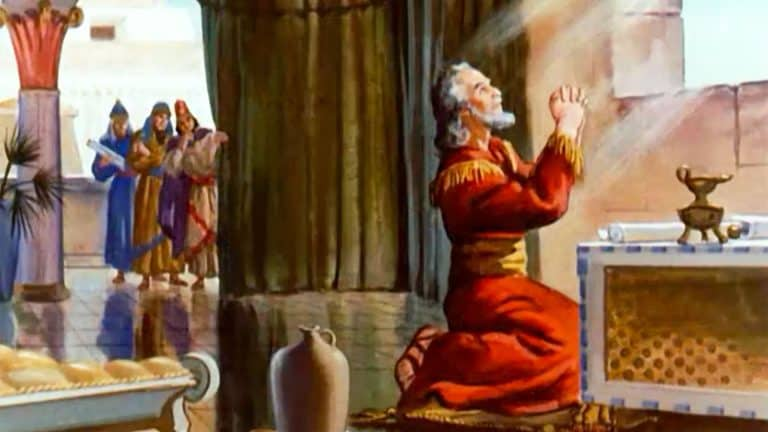 Daniel prays to his God even though it is against the King's decree [FreeBibleImages.org]