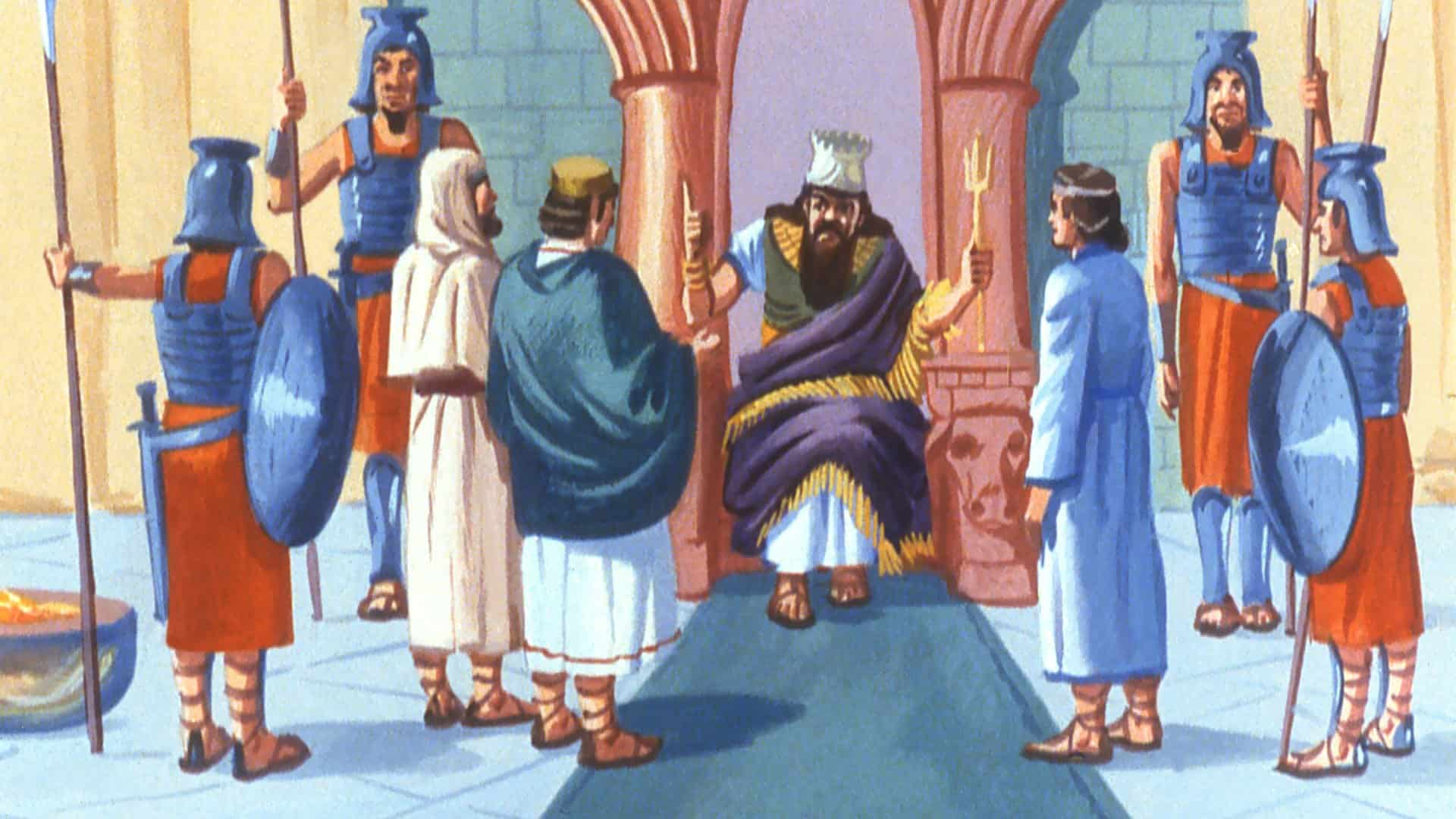 Shadrach, Meshach and Abednego before King Nebuchadnezzar [FreeBibleImages.org]
