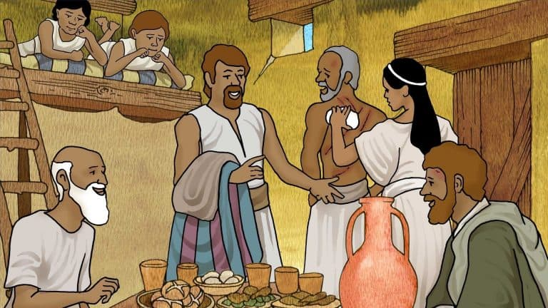 Paul and Silas sharing meal with jailer - freebibleimages.org